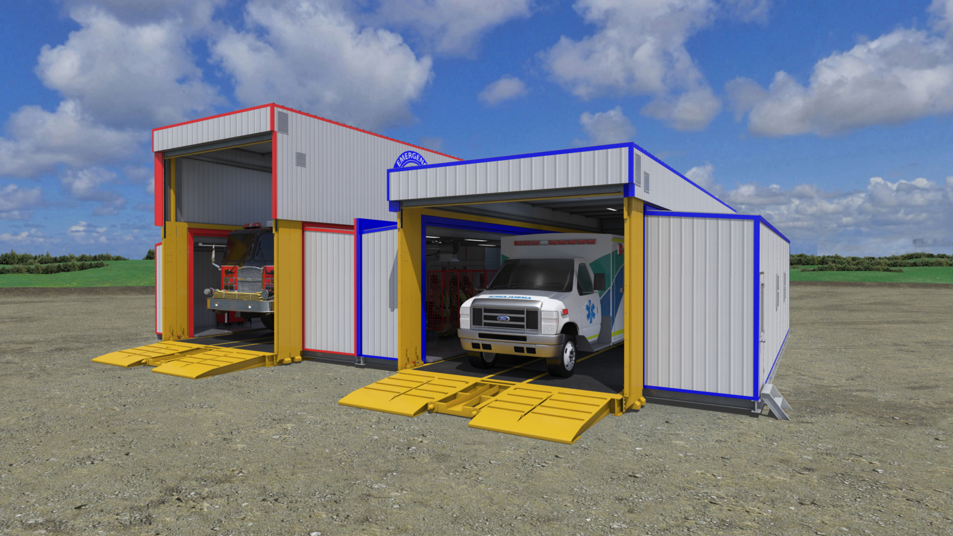 extreme portable buildings trans4mer mobile Fire Station and EMS bay thumbnail