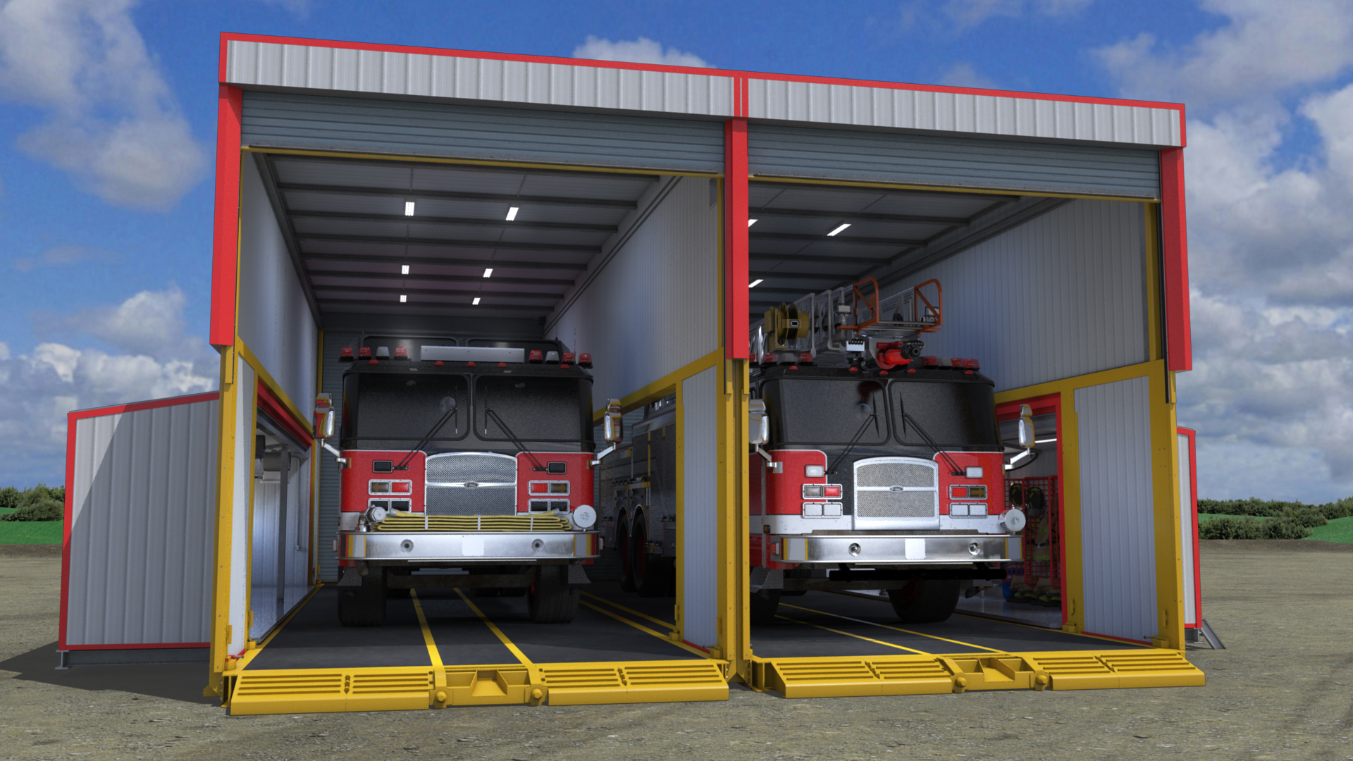extreme portable buildings trans4mer dual bay mobile fire station thumbnail