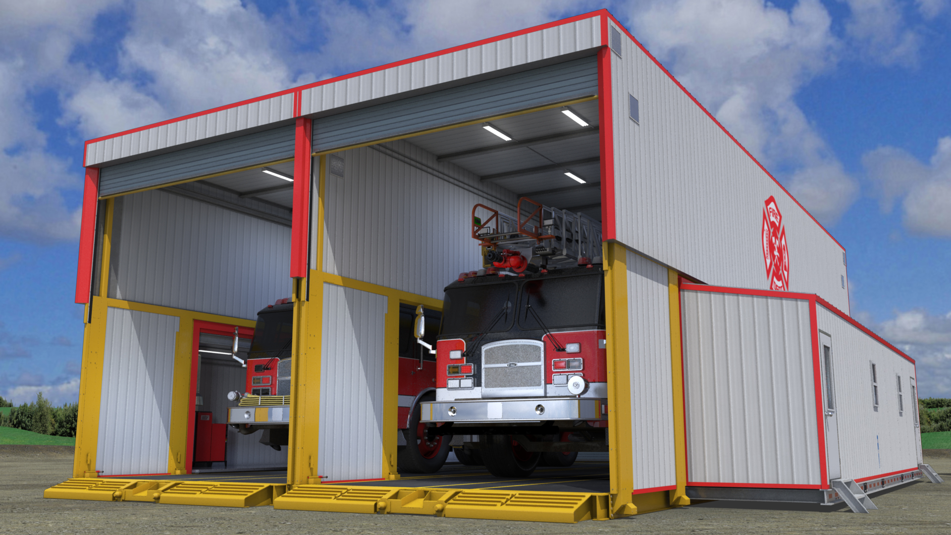 extreme portable buildings trans4mer dual bay mobile fire hall thumbnail