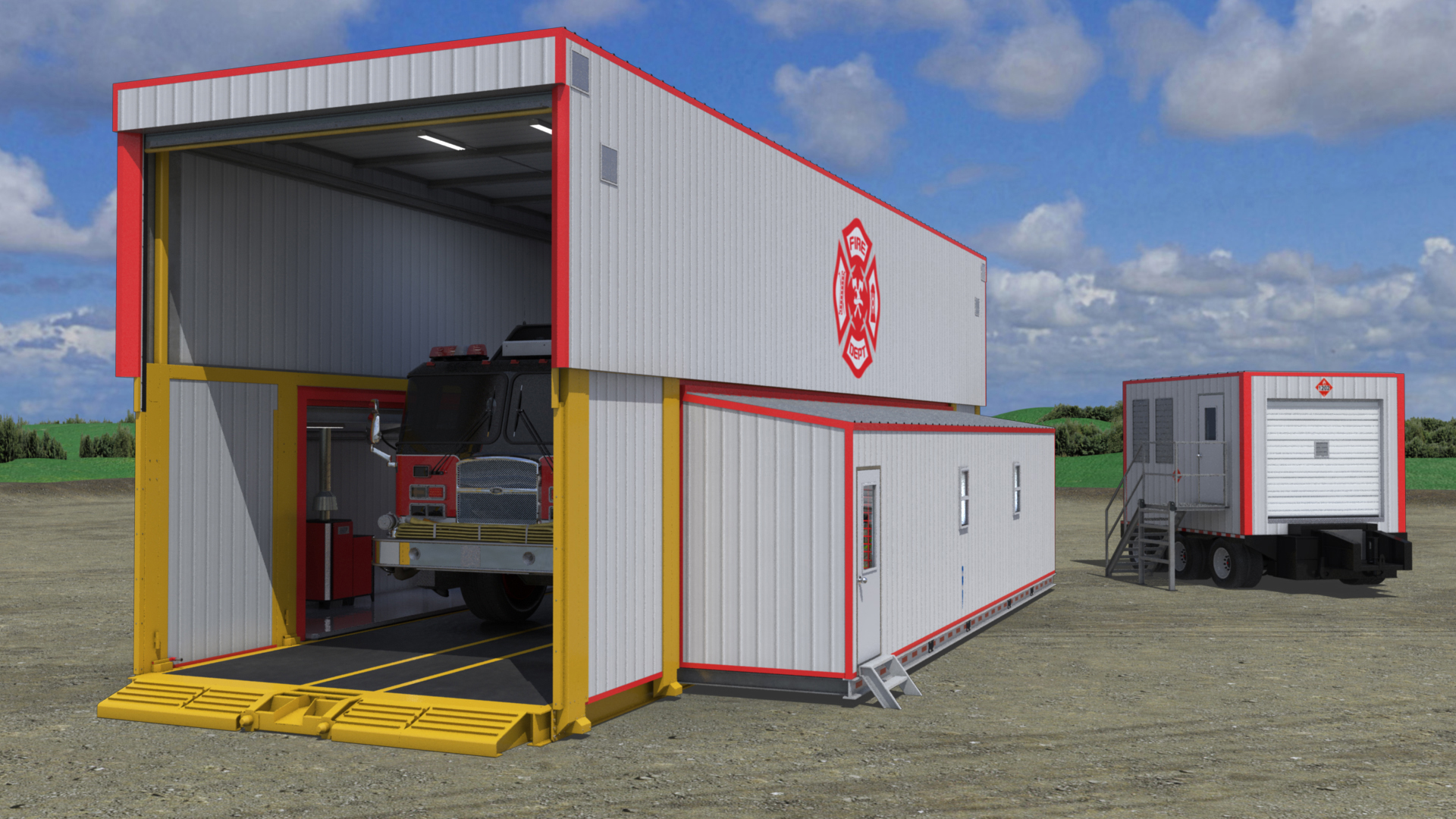 extreme portable buildings trans4mer single bay mobile fire hall thumbnail