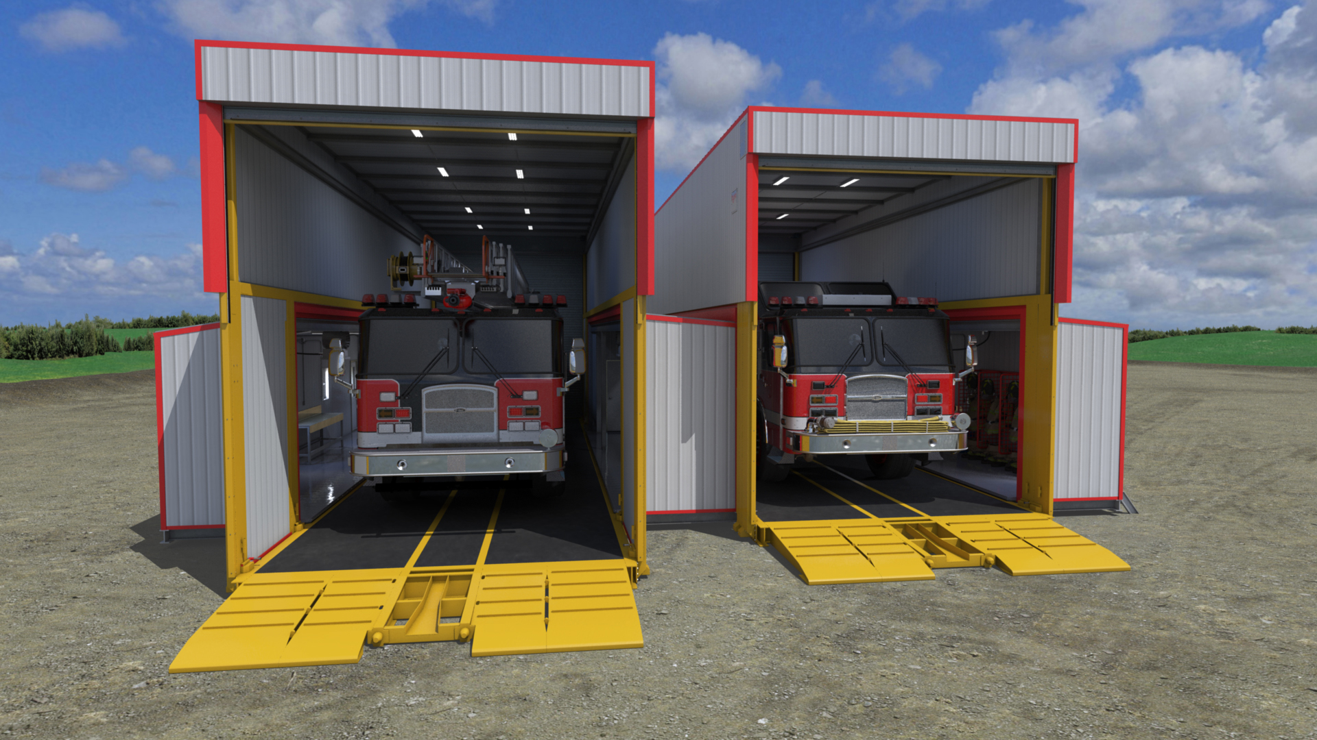 extreme portable buildings trans4mer fire truck bay thumbnail
