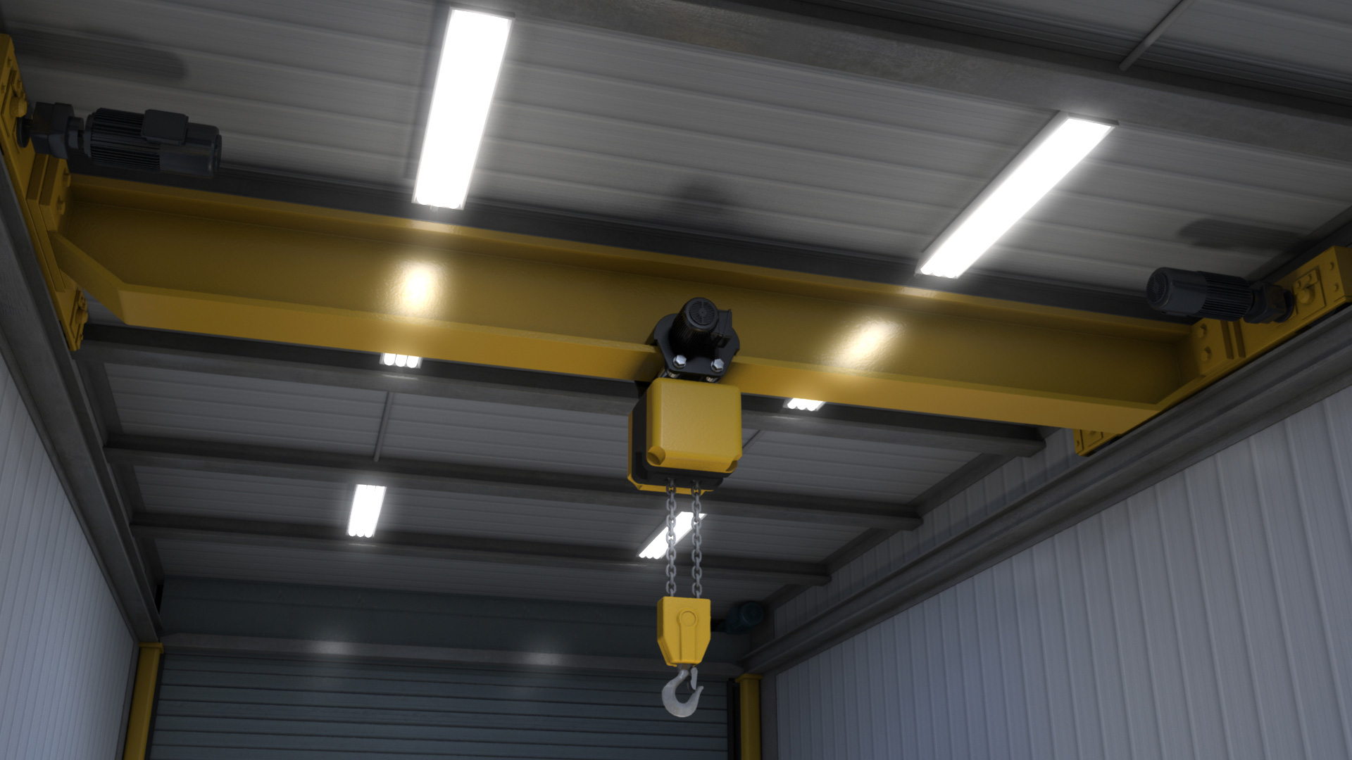 extreme portable buildings trans4mer overhead crane rendering