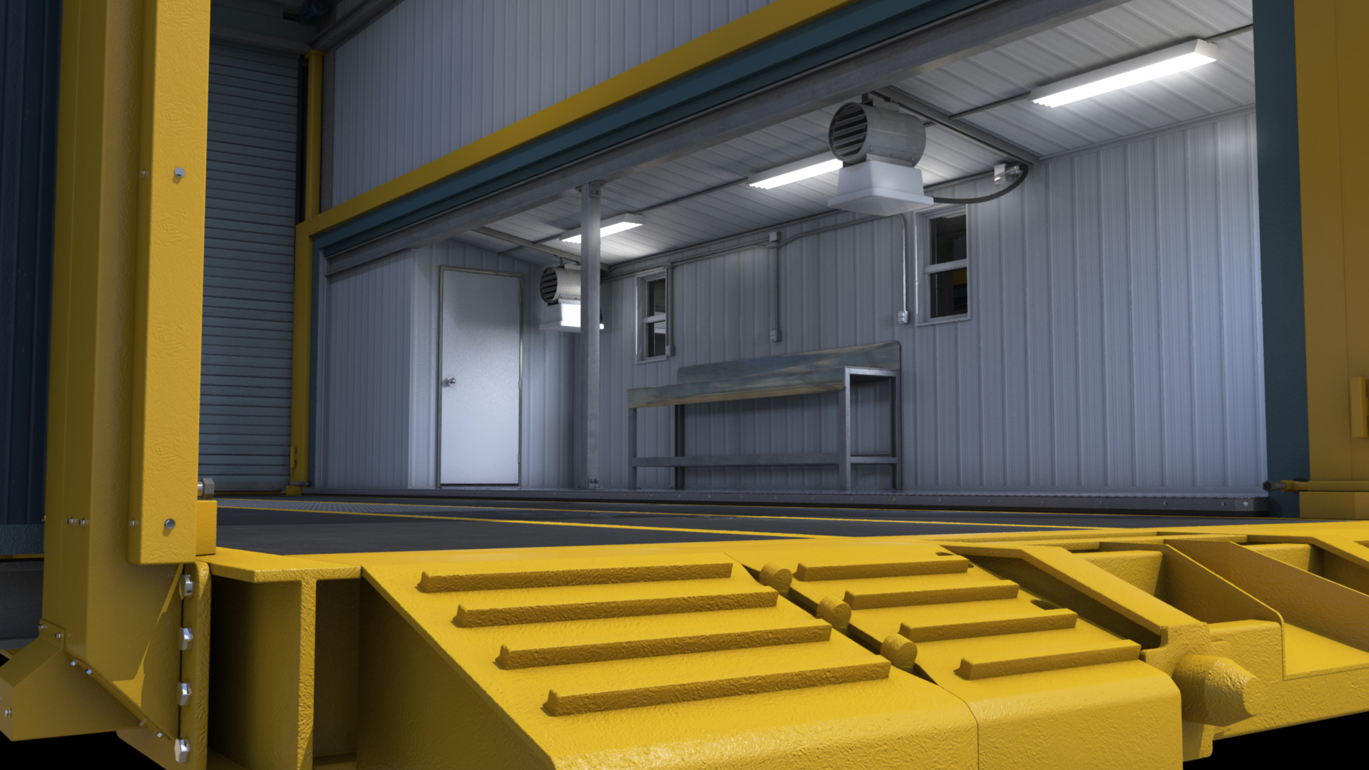 extreme portable buildings trans4mer main structure view from main door thumbnail