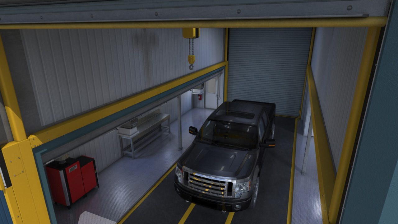 extreme portable buildings trans4mer truck in bay thumbnail