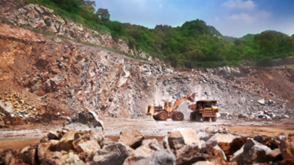 strip mining equipment in operation